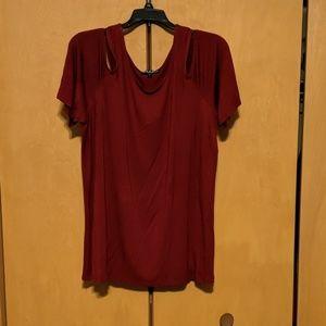 Maroon cold shoulder t shirt